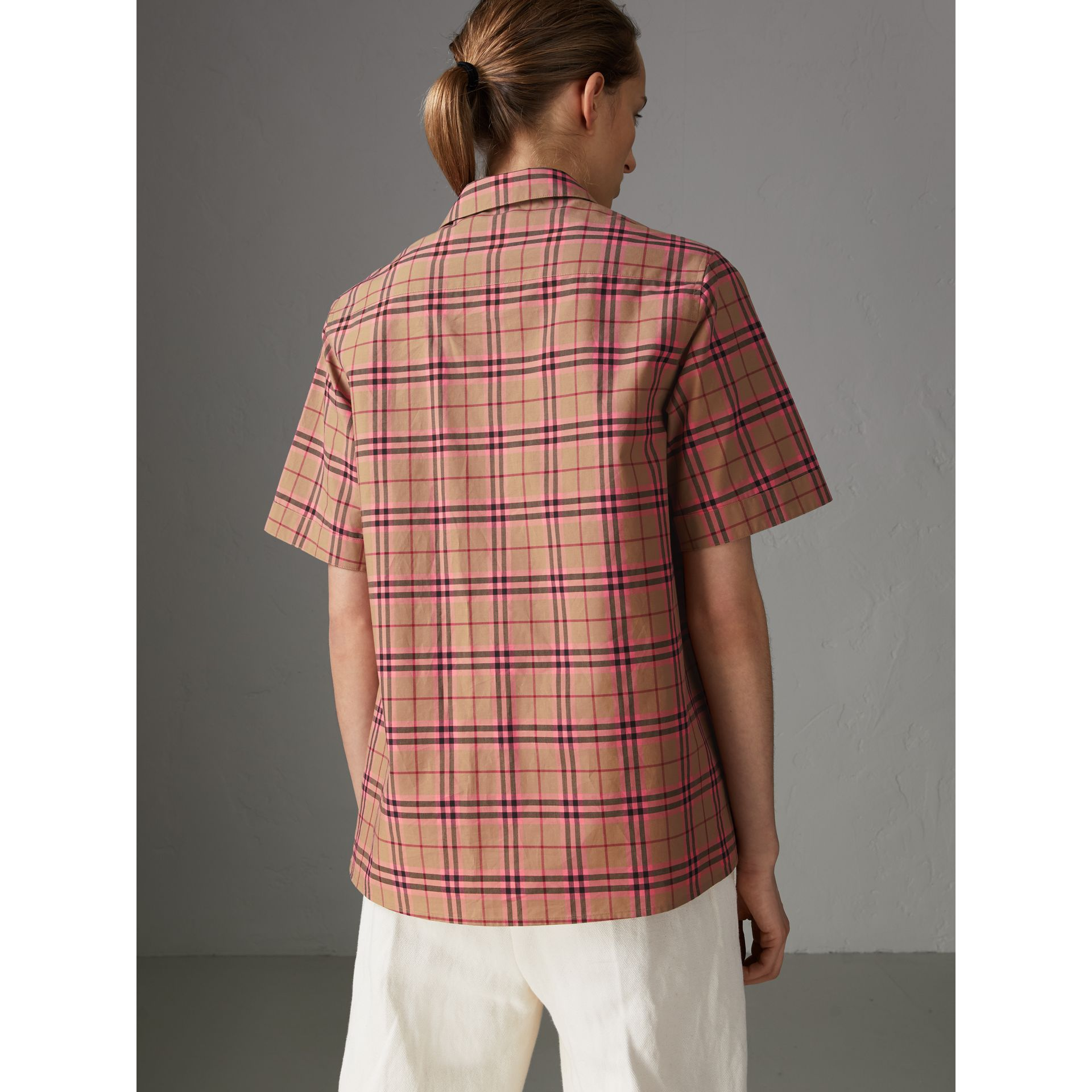 Check Cotton Short-sleeved Shirt in Pomegranate Pink - Women | Burberry - gallery image 2