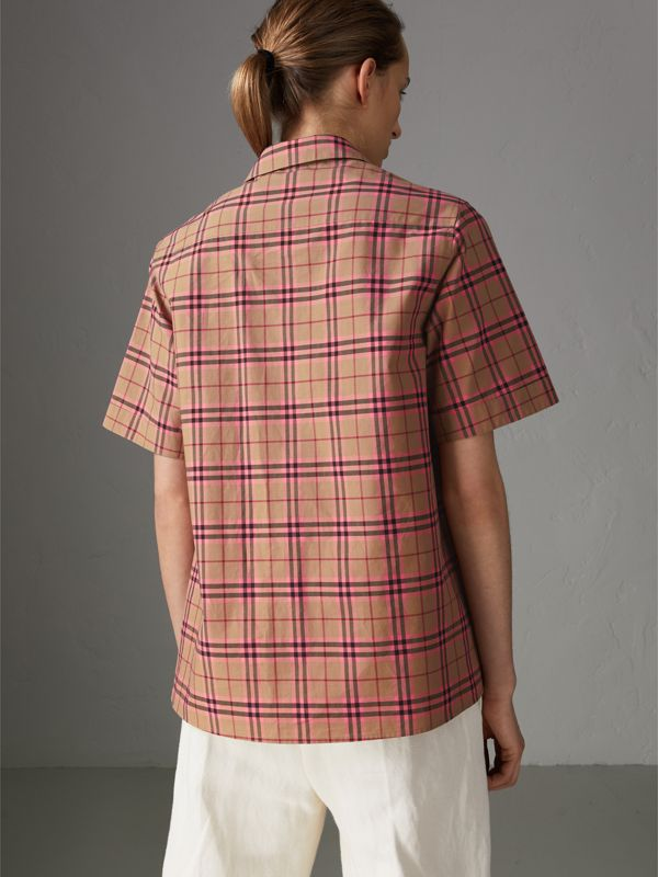 Check Cotton Short-sleeved Shirt in Pomegranate Pink - Women | Burberry United Kingdom - cell image 2