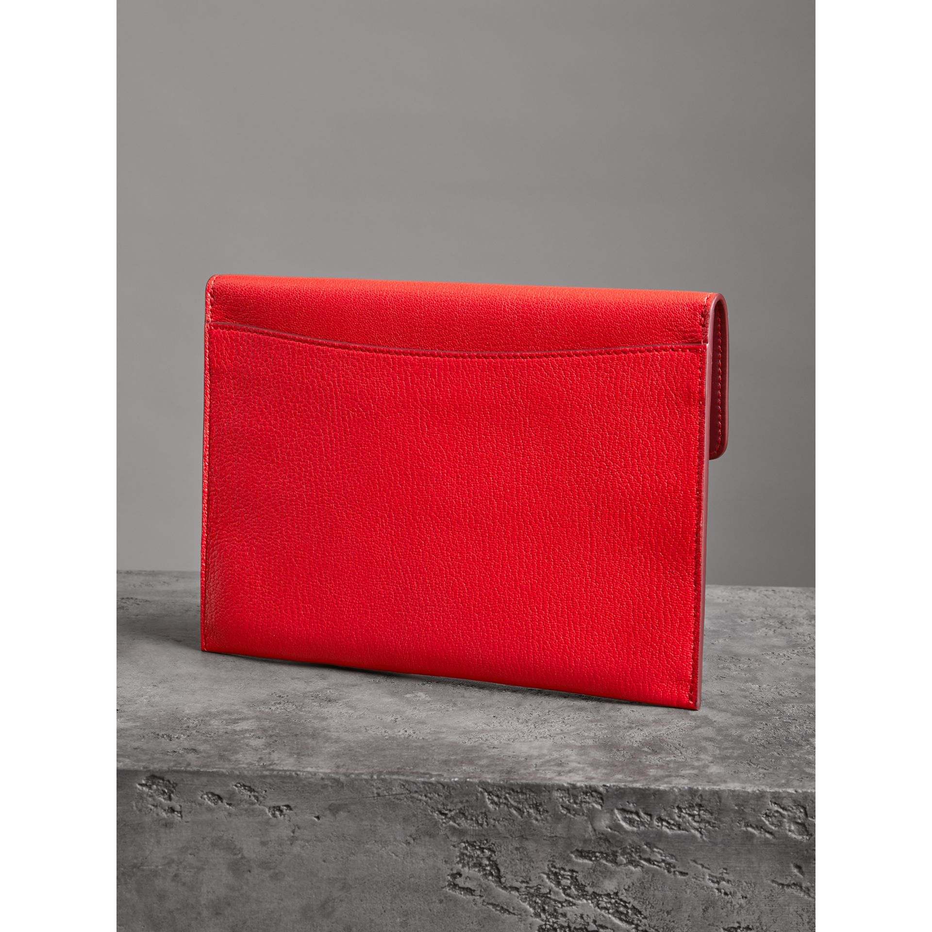 D-ring Leather Pouch with Zip Coin Case in Bright Red - Women | Burberry - gallery image 2