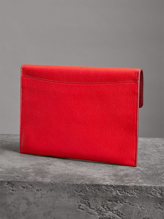 D-ring Leather Pouch with Zip Coin Case in Bright Red - Women | Burberry - cell image 2