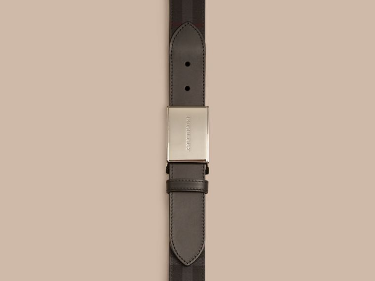 Charcoal/black Horseferry Check and Leather Belt - cell image 1