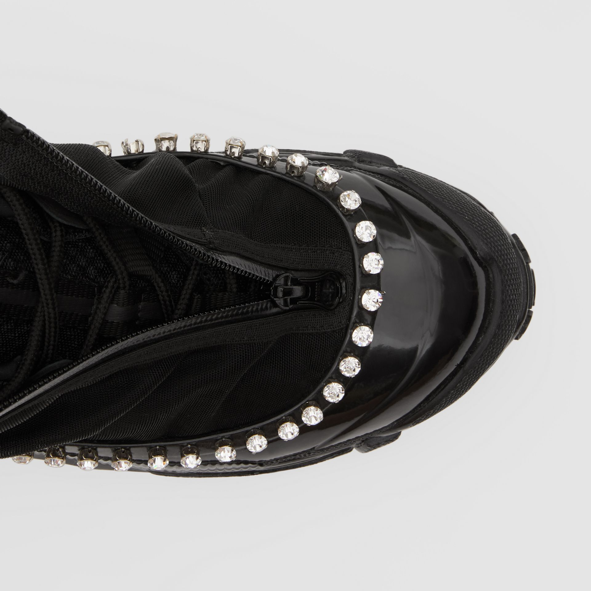 Crystal Detail Mesh, Nylon and Suede Arthur Sneakers in Black - Women | Burberry - gallery image 1