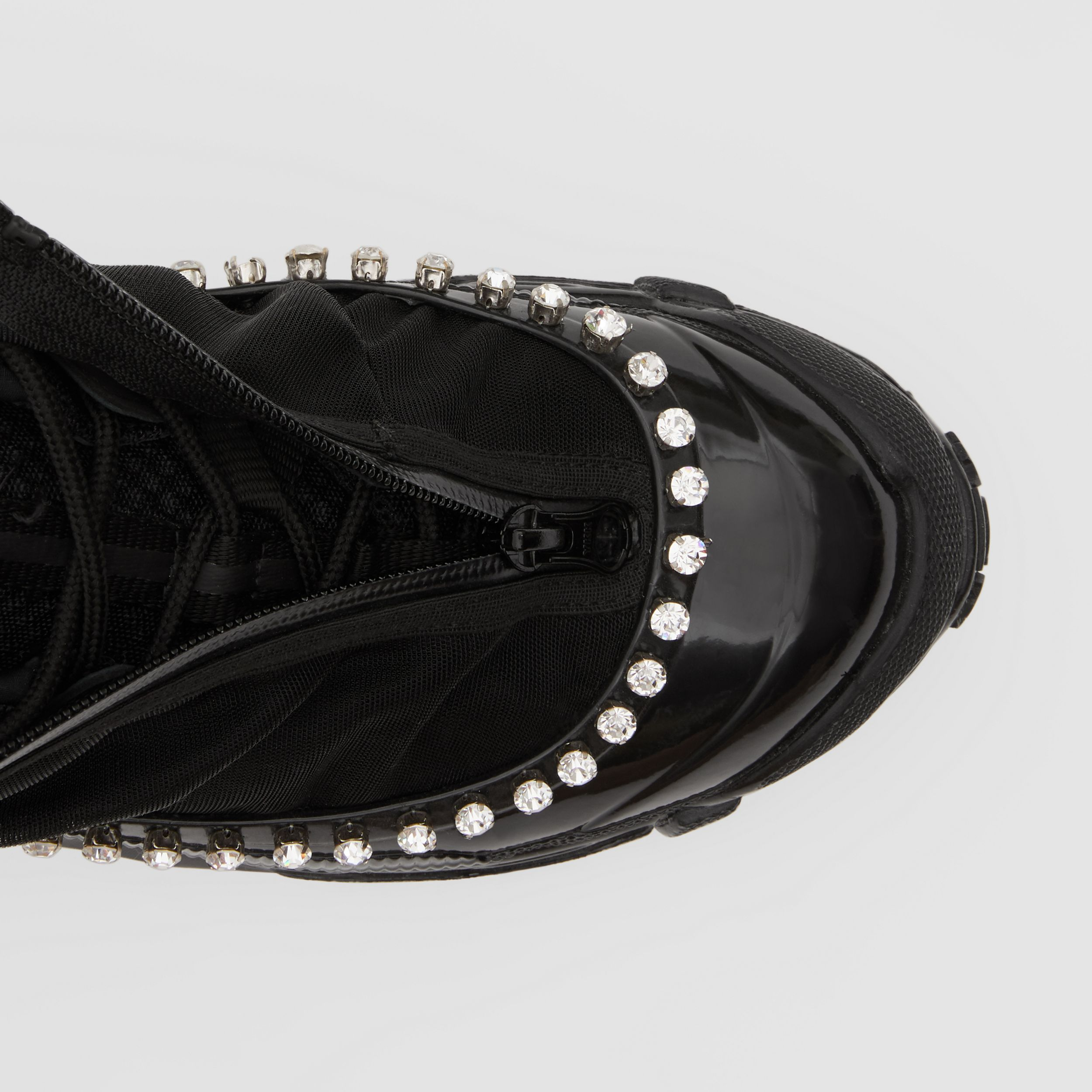 Crystal Detail Mesh, Nylon and Suede Arthur Sneakers in Black - Women | Burberry - 2