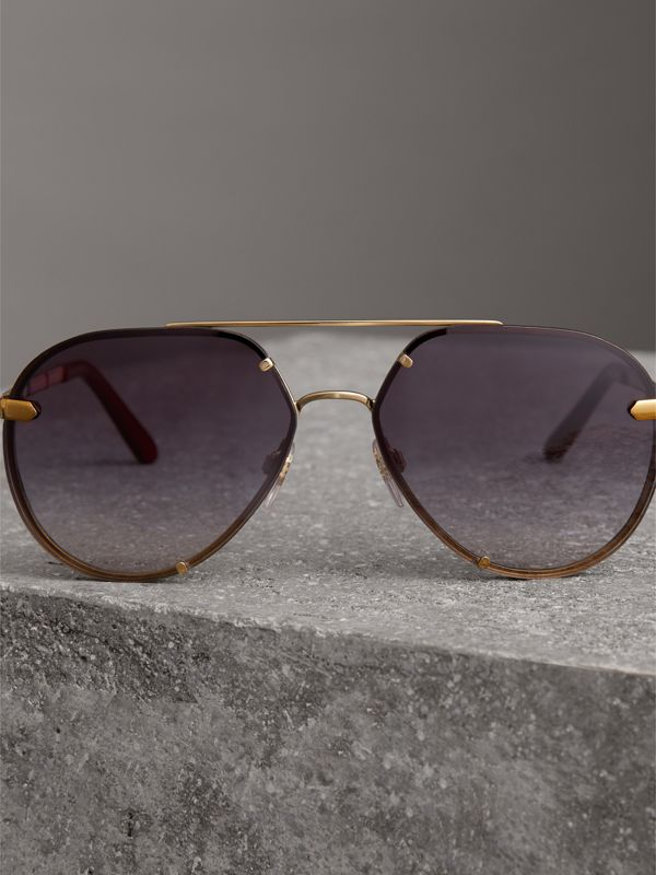 Check Detail Pilot Sunglasses in Purple - Women | Burberry - cell image 3