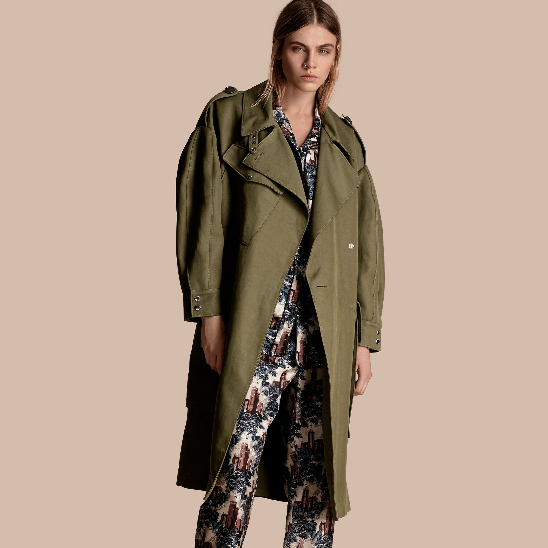 Military green Longline Ramie Cotton Wrap Coat - gallery image 6