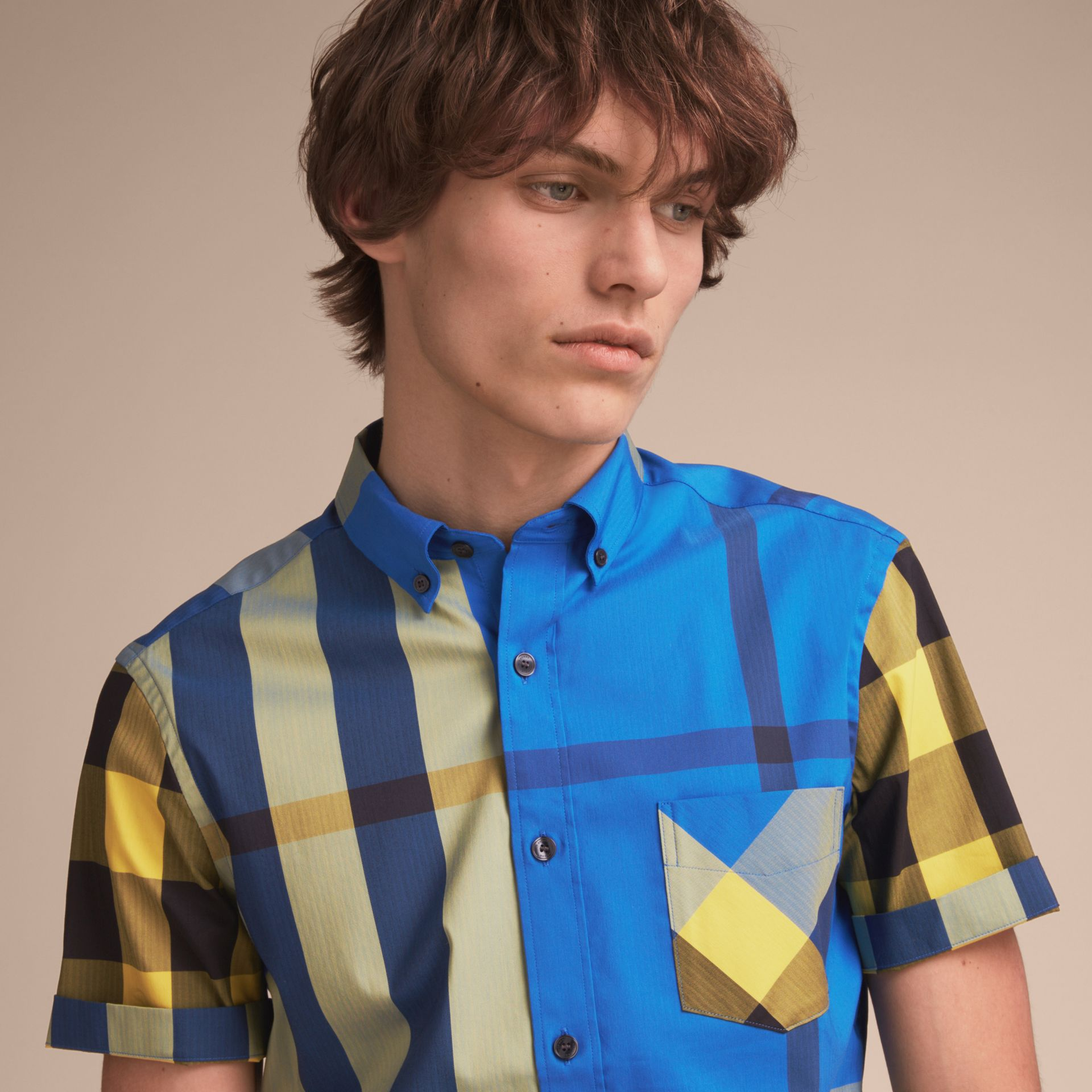 Short-sleeve Check Stretch Cotton Blend Shirt in Bright Canvas Blue - Men | Burberry - gallery image 5