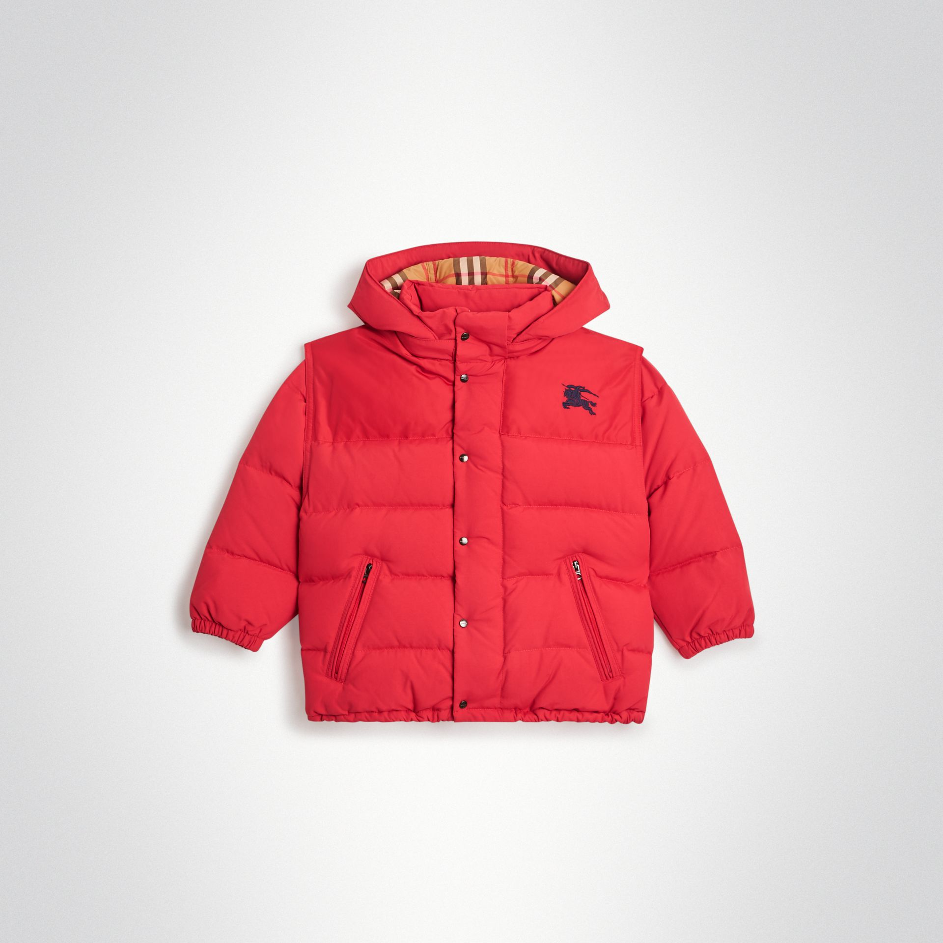 Detachable Hood Down-filled Puffer Jacket in Bright Red | Burberry - gallery image 0