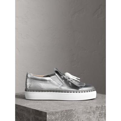 Burberry - Sneakers en cuir métallisé à franges - 5