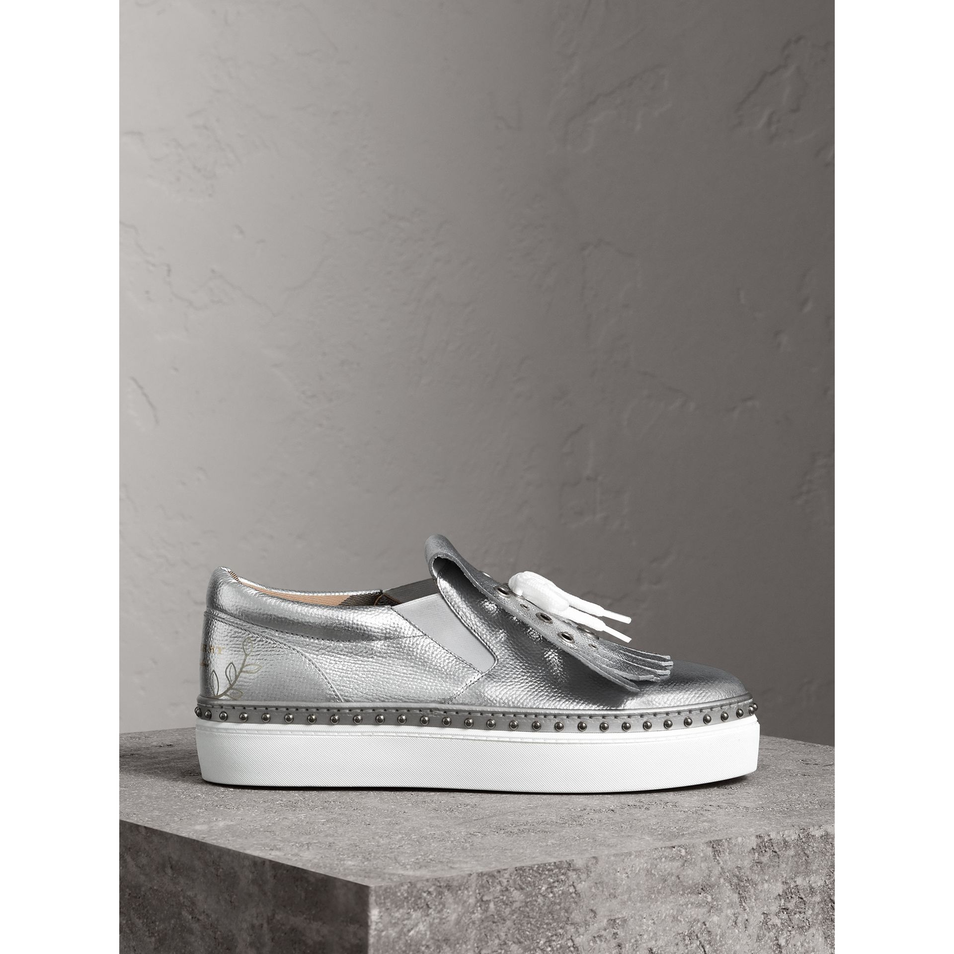 Kiltie Fringe Metallic Leather Trainers in Silver - Women | Burberry - gallery image 4