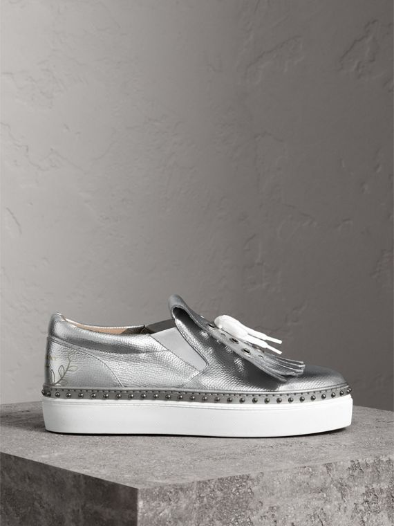 Kiltie Fringe Metallic Leather Trainers in Silver - Women | Burberry - cell image 3