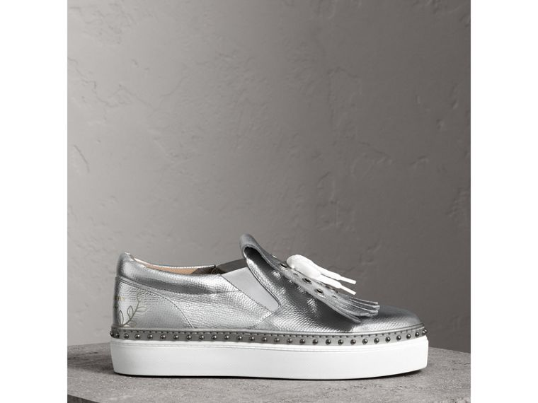 Kiltie Fringe Metallic Leather Trainers in Silver - Women | Burberry - cell image 4