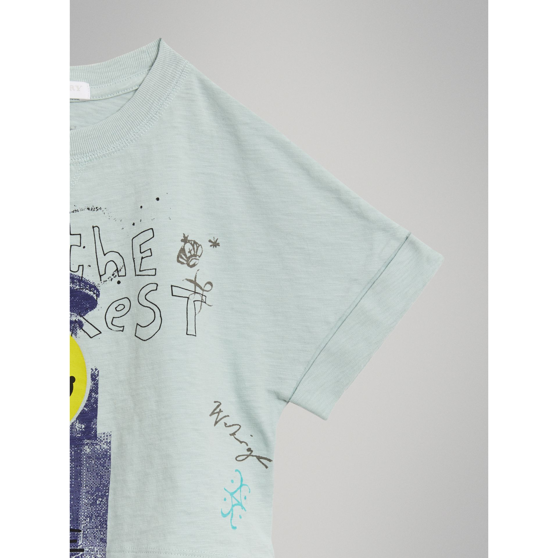 Smiley Face Print Cropped T-shirt in Pale Mint - Girl | Burberry - gallery image 4