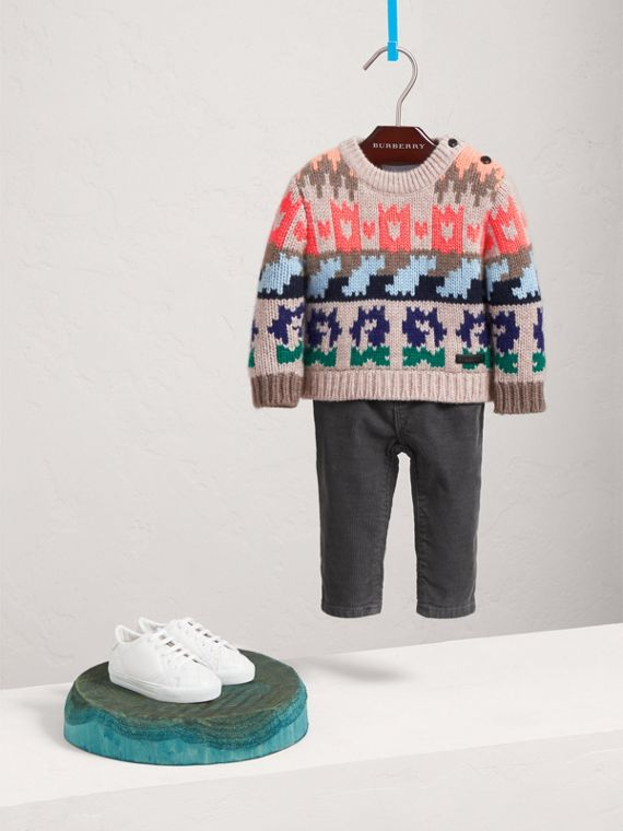 Exploded Fair Isle Wool Cashmere Sweater in Pale Cinnamon