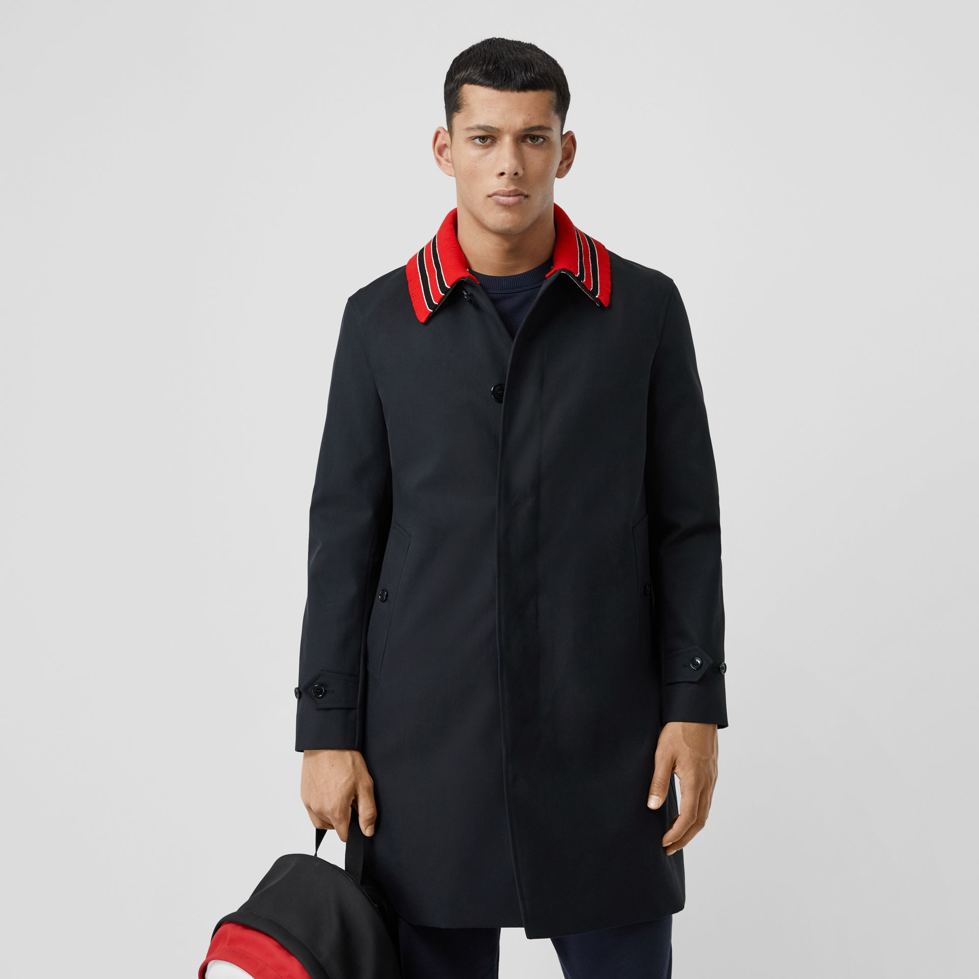 Detachable Striped Collar Cotton Car Coat in Navy - Men | Burberry - gallery image 6