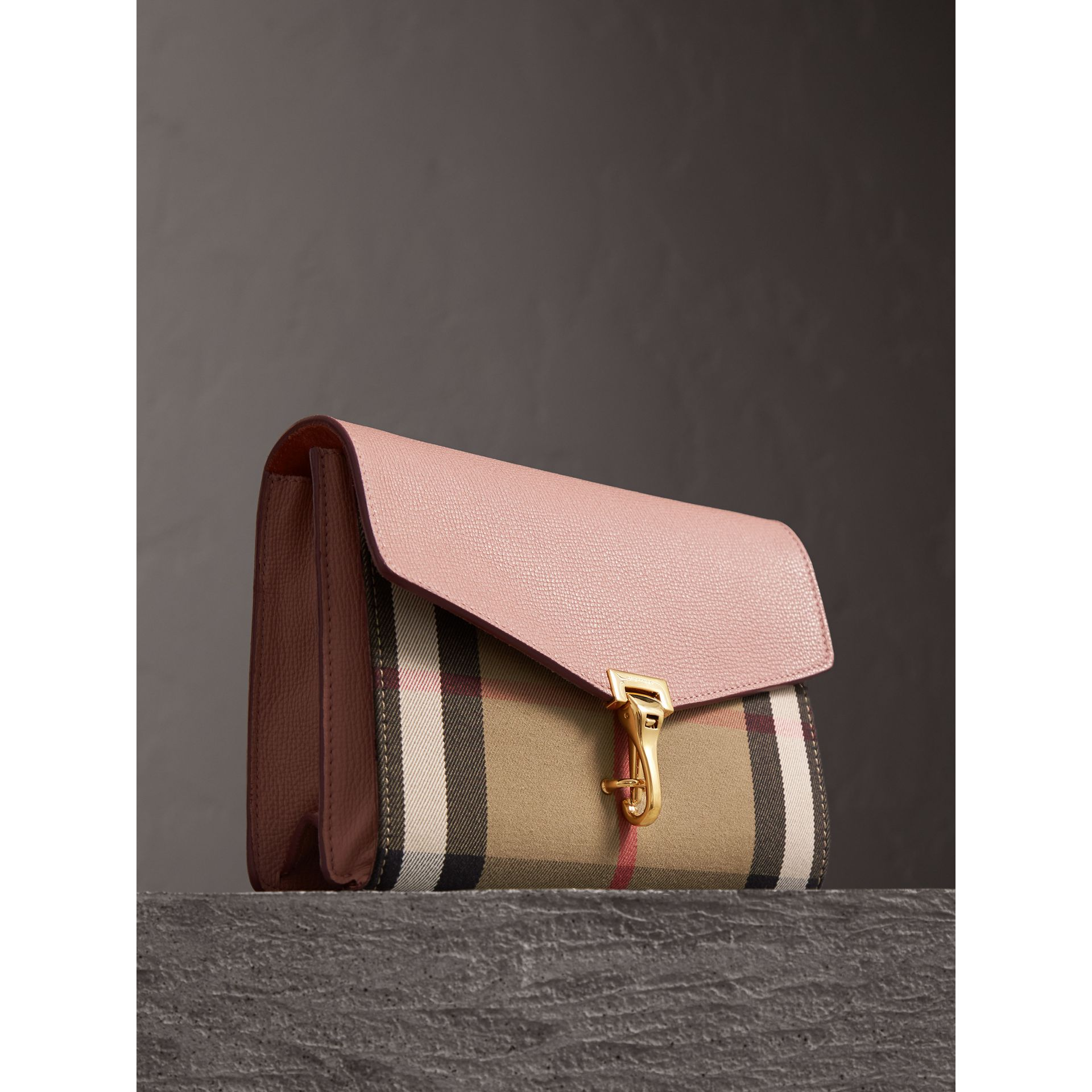 Small Leather and House Check Crossbody Bag in Pale Orchid - Women | Burberry Singapore - gallery image 6