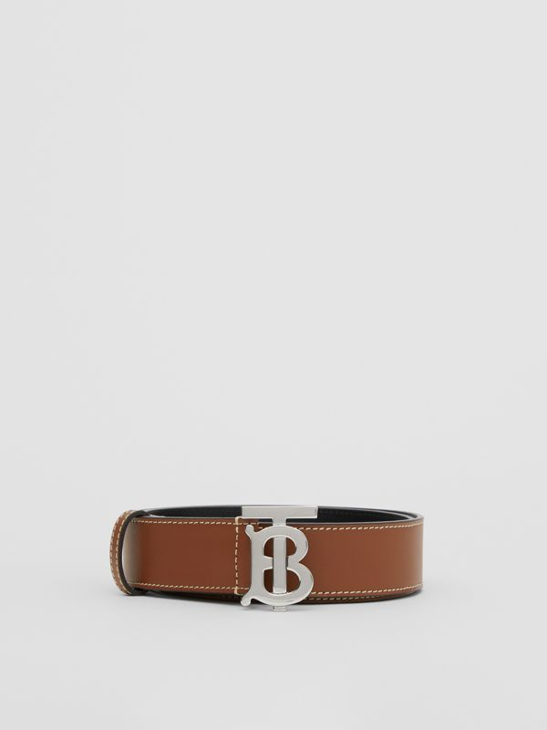 Monogram Motif Topstitched Leather Belt in Tan - Men | Burberry - cell image 3