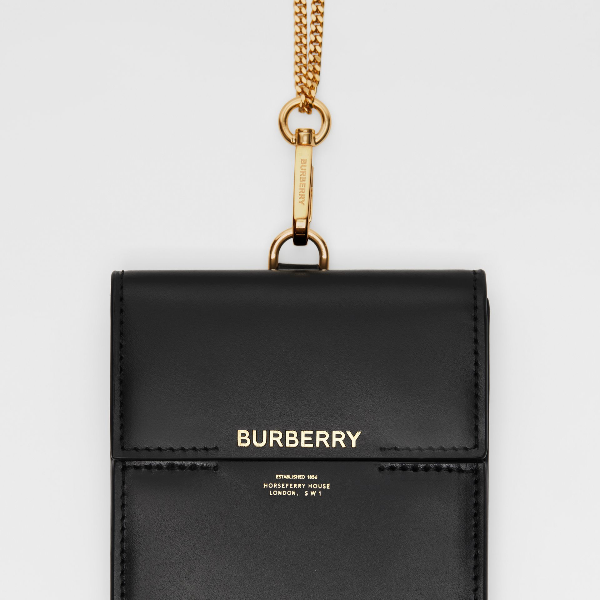 Horseferry Print Leather Phone Case Lanyard in Black - Women | Burberry - gallery image 1