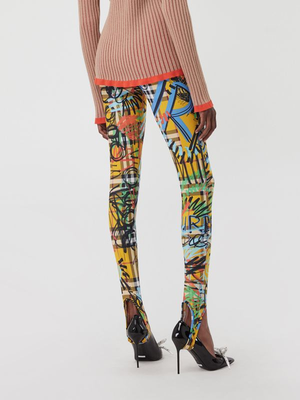 Graffiti Print Vintage Check Leggings in Amber Yellow - Women | Burberry - cell image 2