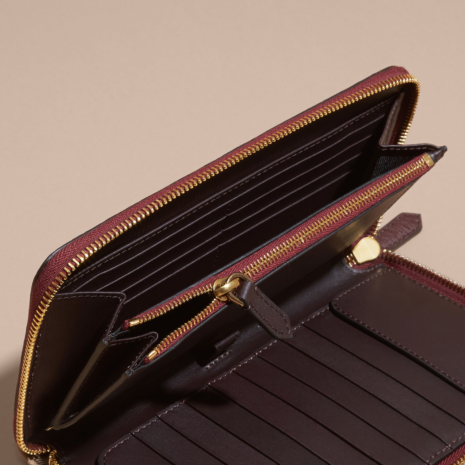 House Check and Grainy Leather Ziparound Wallet in Wine | Burberry - gallery image 5