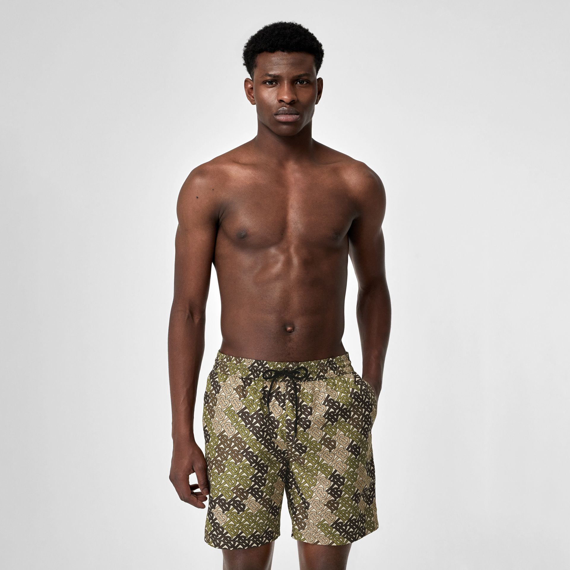 Monogram Print Drawcord Swim Shorts in Khaki Green - Men | Burberry Singapore - gallery image 0