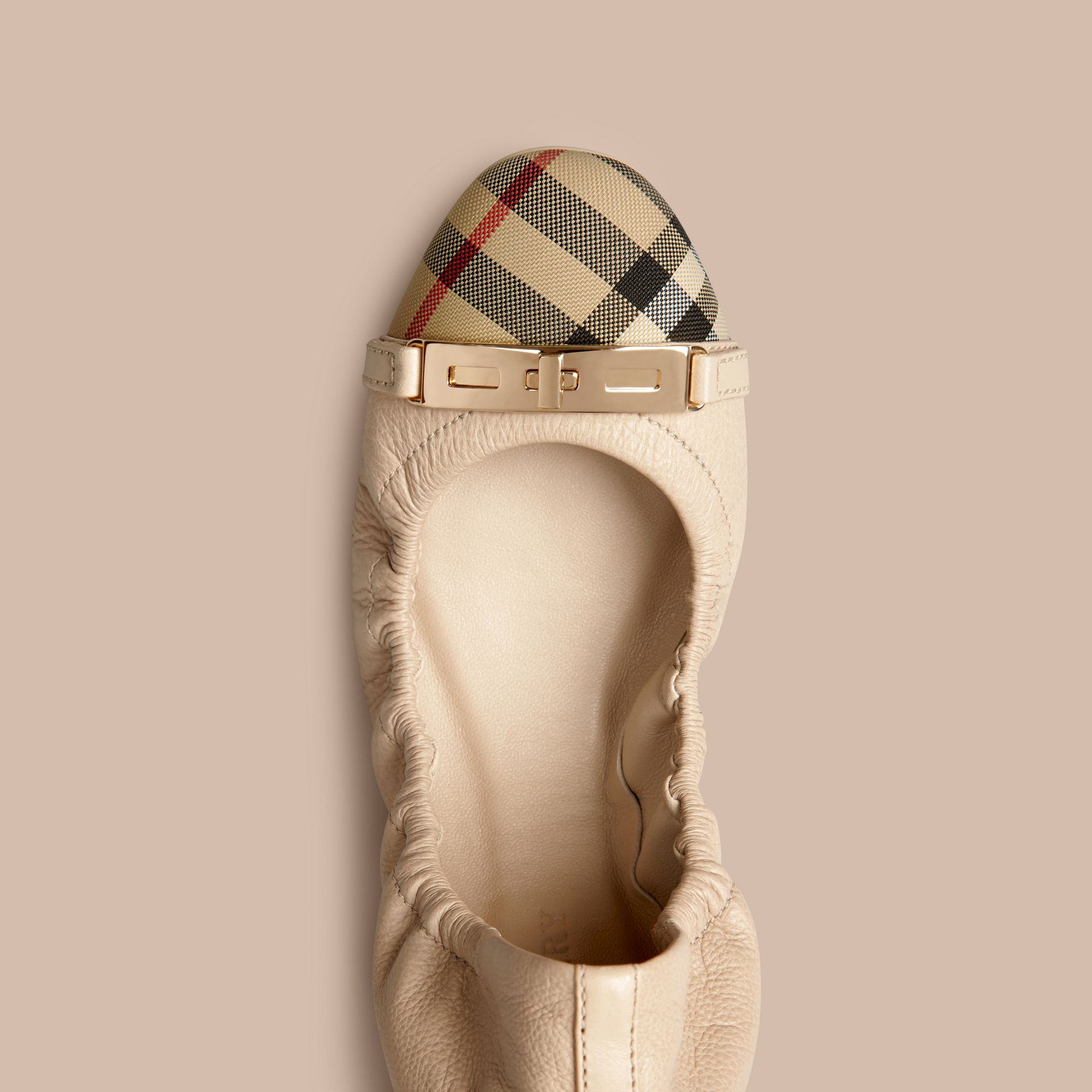 Horseferry Check Leather Ballerinas Rosy Beige - gallery image 2