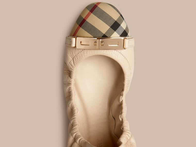 Horseferry Check Leather Ballerinas Rosy Beige - cell image 1