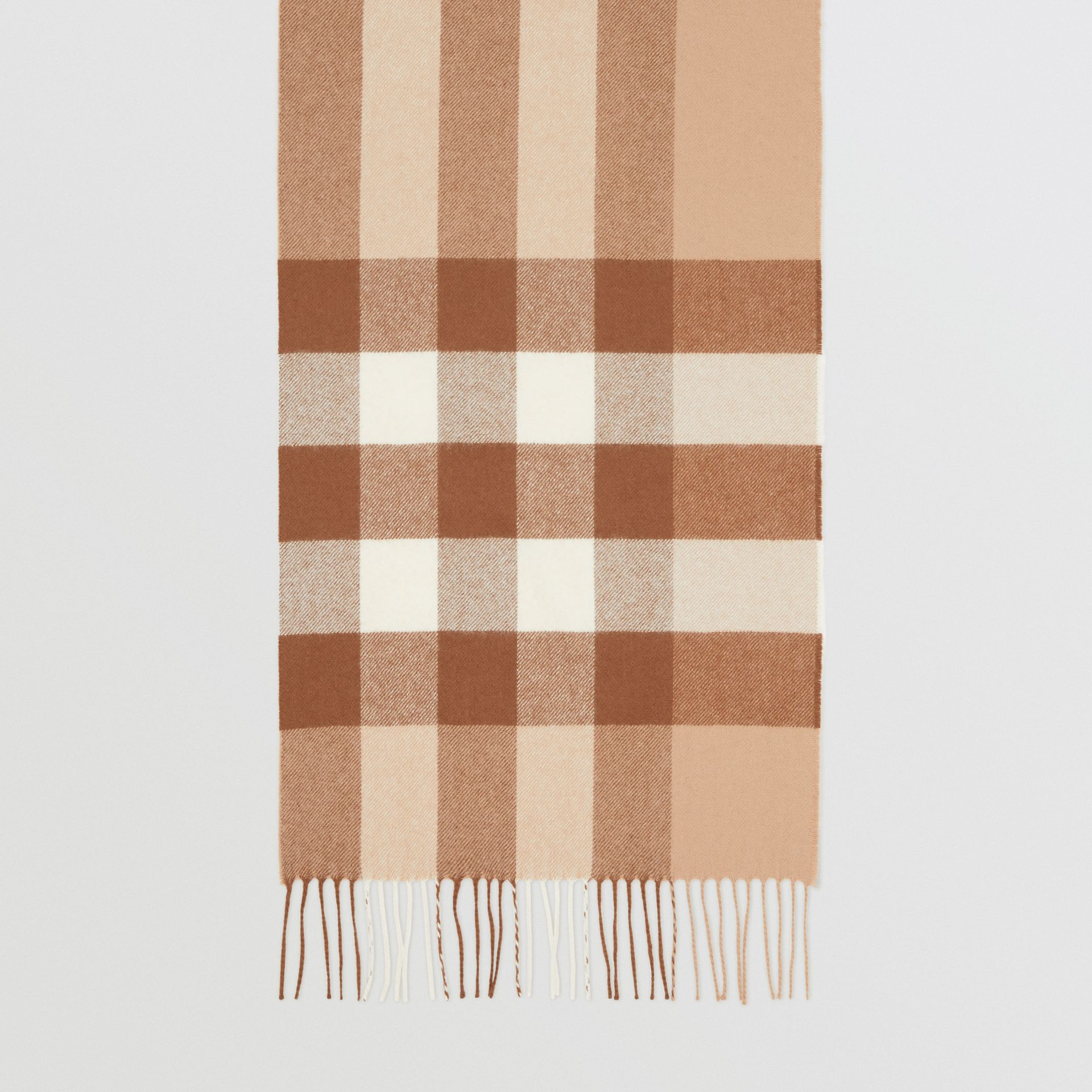 Check Cashmere Scarf in Mid Camel | Burberry United Kingdom - gallery image 4