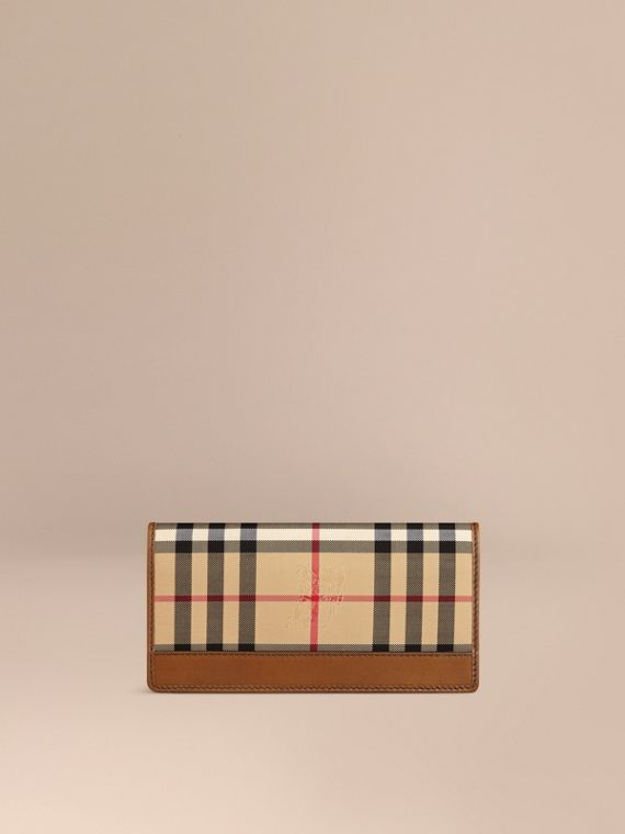 Horseferry Check Continental Wallet in Tan - Men | Burberry Singapore