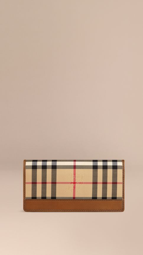Tan Horseferry Check Continental Wallet Tan - Image 1