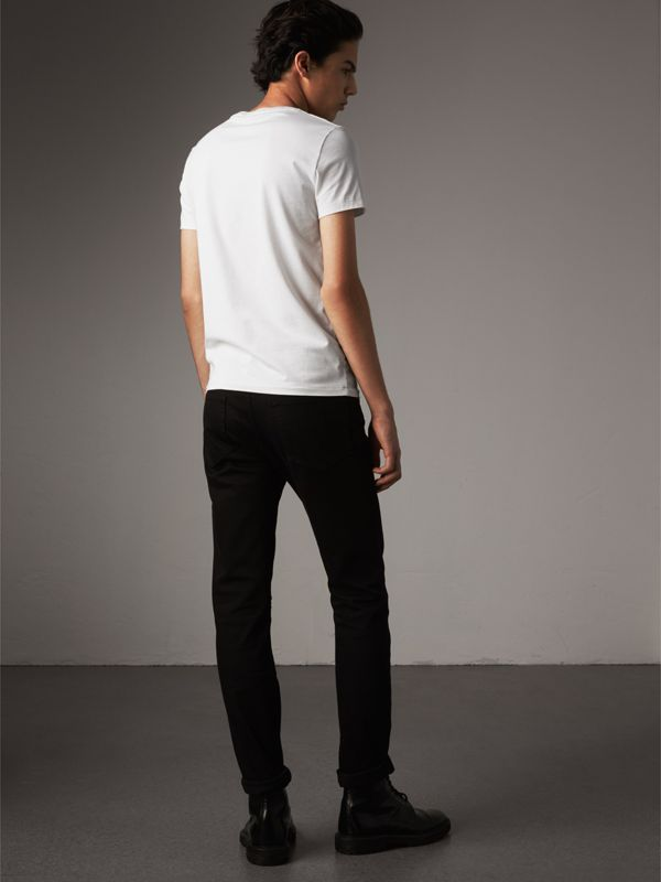 Cotton Jersey T-shirt in Optic White - Men | Burberry Australia - cell image 2