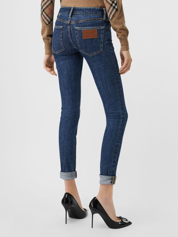 Skinny Fit Japanese Denim Jeans in Blue - Women | Burberry - cell image 2