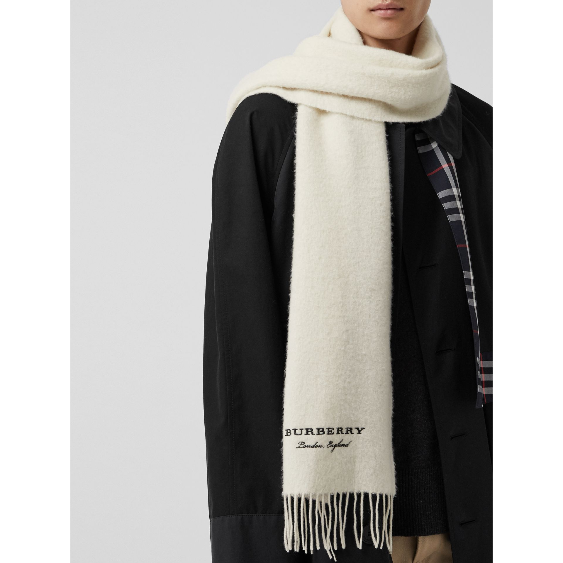 Embroidered Cashmere Fleece Scarf in Ivory | Burberry United Kingdom - gallery image 6