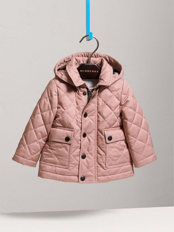 Detachable Hood Quilted Jacket in Pale Rose | Burberry - cell image 2