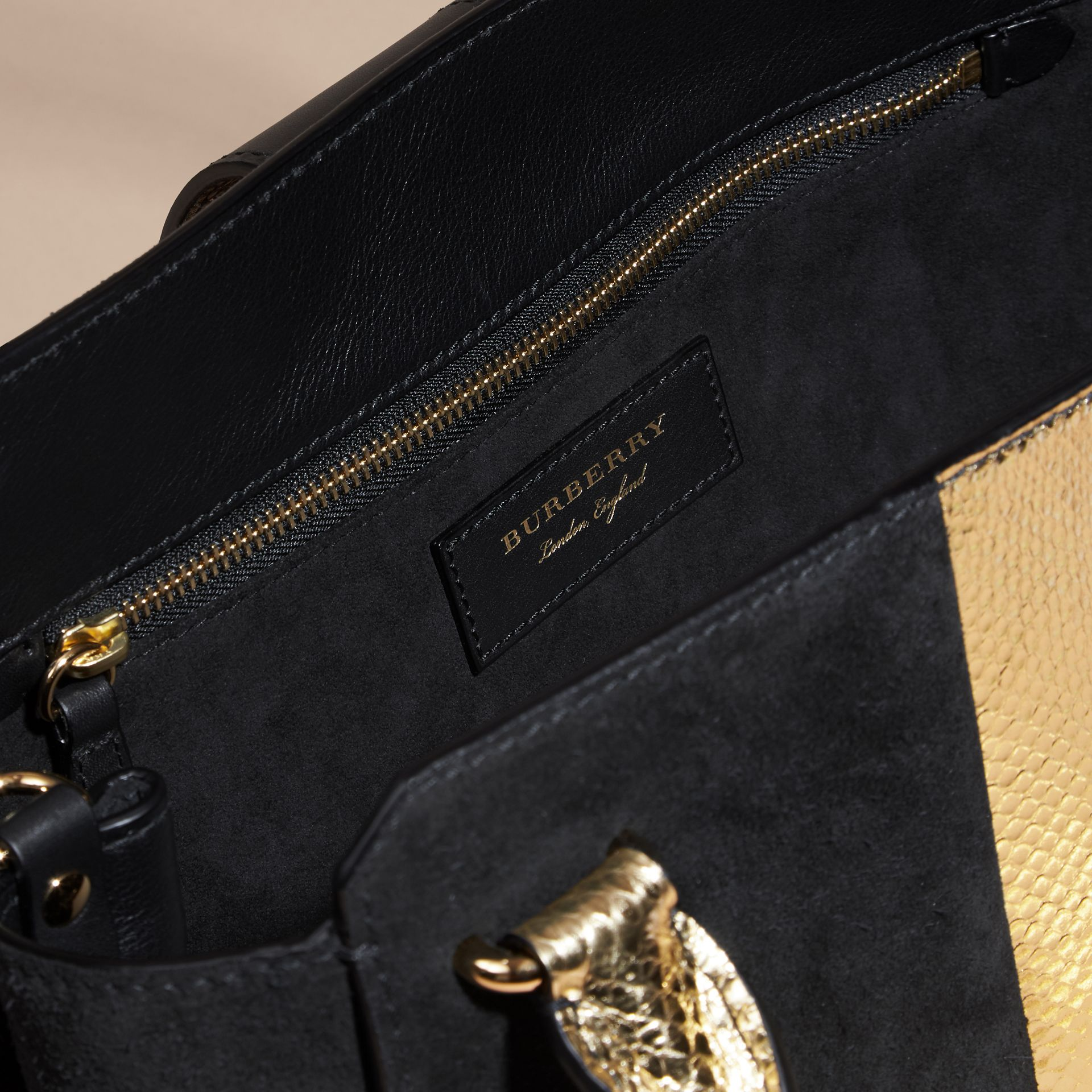 Black/gold The Medium Buckle Tote in Suede and Snakeskin - gallery image 5