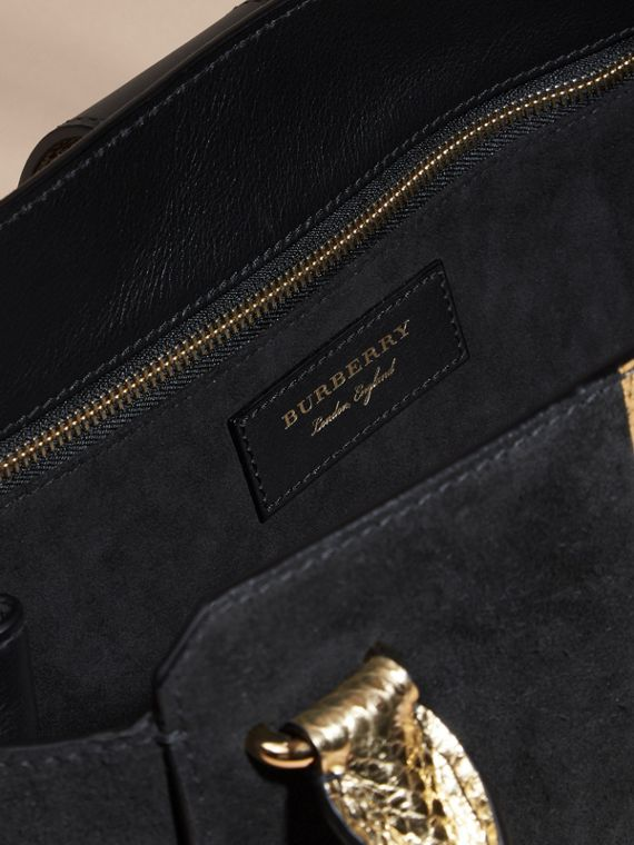 Black/gold The Medium Buckle Tote in Suede and Snakeskin - cell image 3