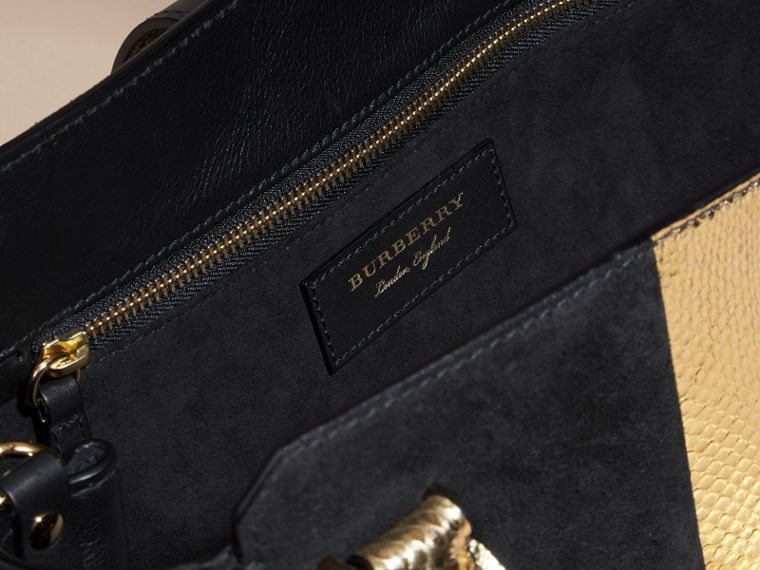 The Medium Buckle Tote in Suede and Snakeskin in Black/gold - Women | Burberry Australia - cell image 4