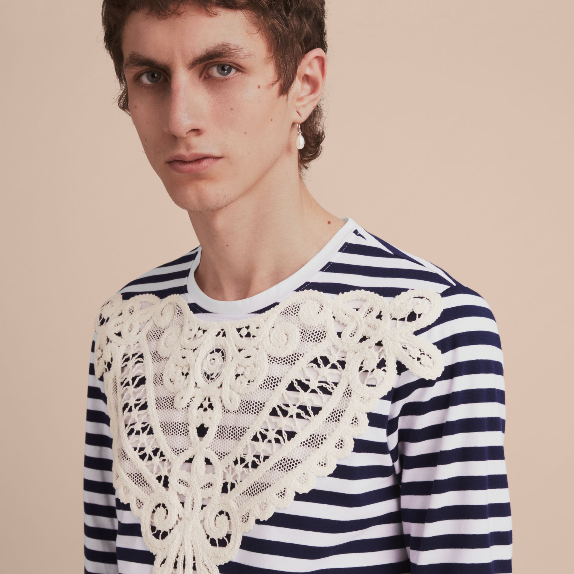 Unisex Breton Stripe Cotton Top with Lace Appliqué in Indigo - Men | Burberry - gallery image 6