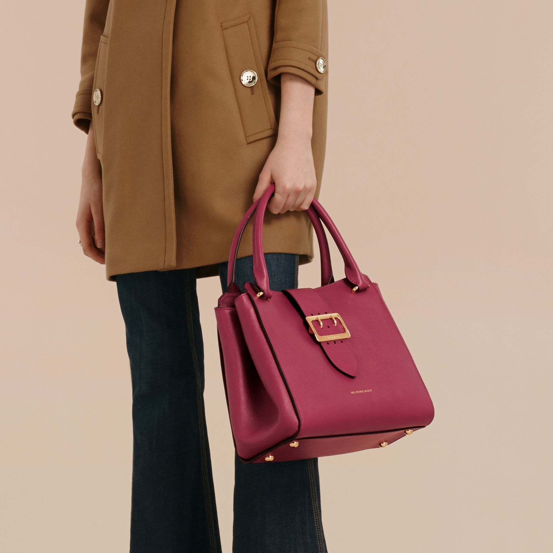 The Medium Buckle Tote in Grainy Leather Dark Plum - gallery image 4