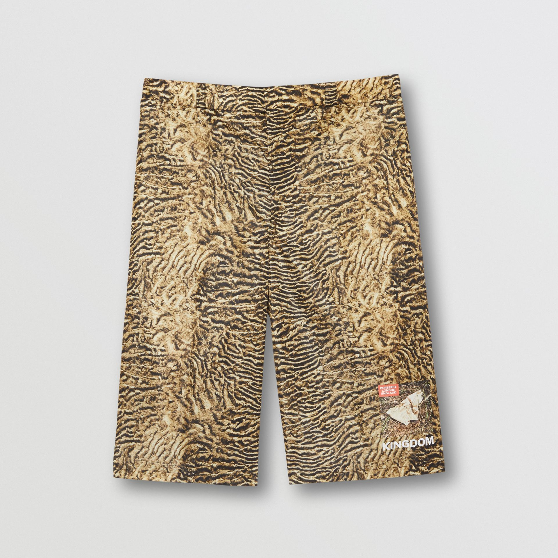 Tiger Print Nylon Shorts in Beige | Burberry - gallery image 3