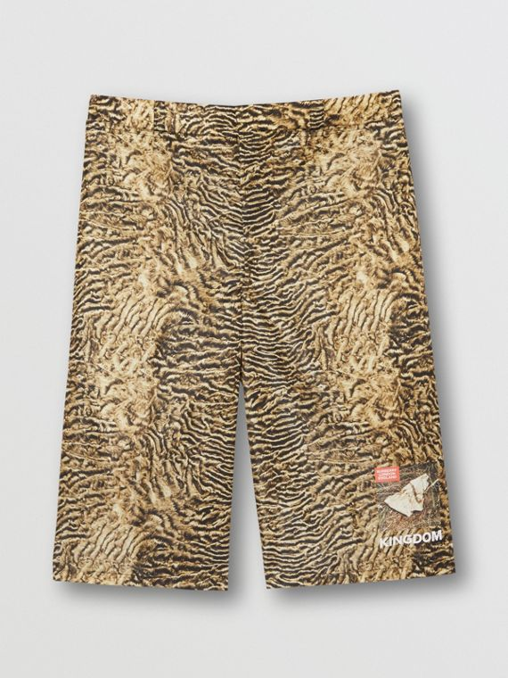 Tiger Print Nylon Shorts in Beige