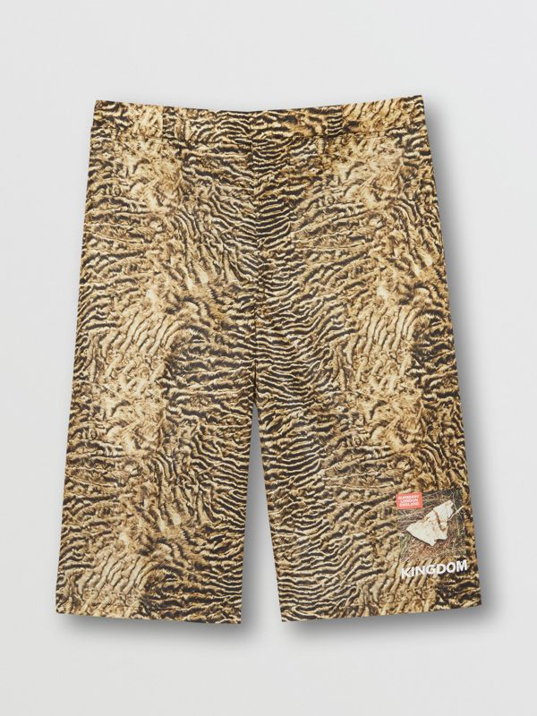 Tiger Print Nylon Shorts in Beige | Burberry - cell image 3