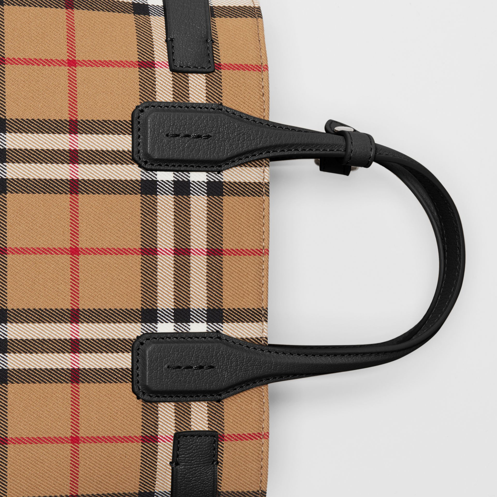 The Small Banner in Vintage Check and Leather in Black - Women | Burberry - gallery image 1