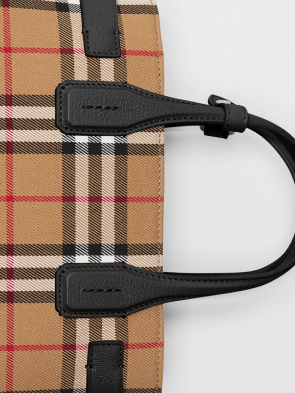 The Small Banner in Vintage Check and Leather in Black - Women | Burberry Singapore - cell image 1