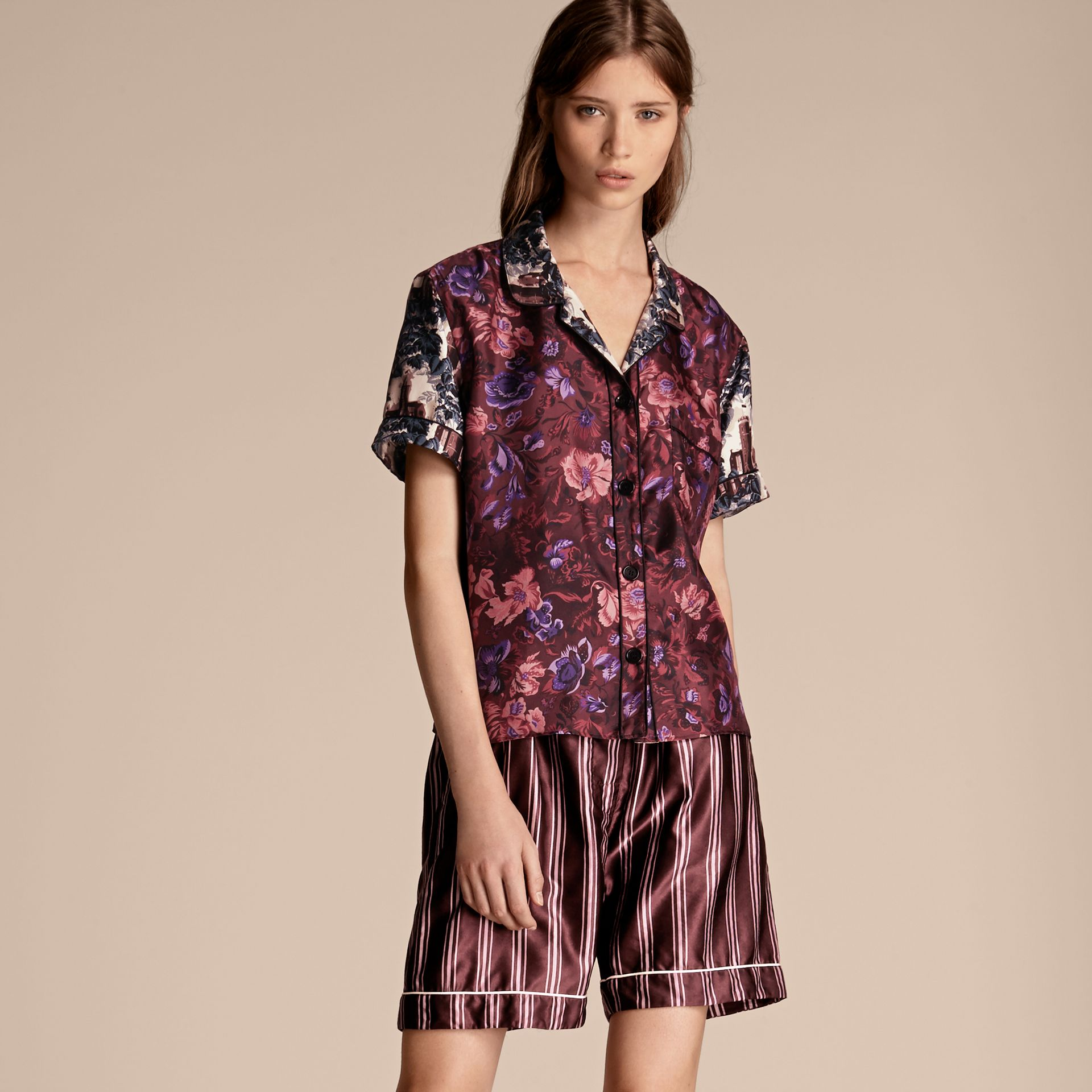 Short-sleeved Floral Print Silk Pyjama-style Shirt - gallery image 1