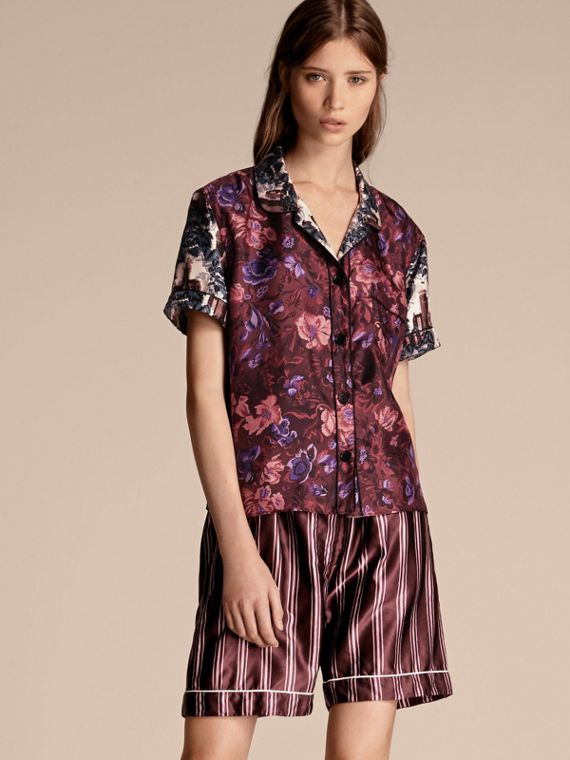 Short-sleeved Floral Print Silk Pyjama-style Shirt