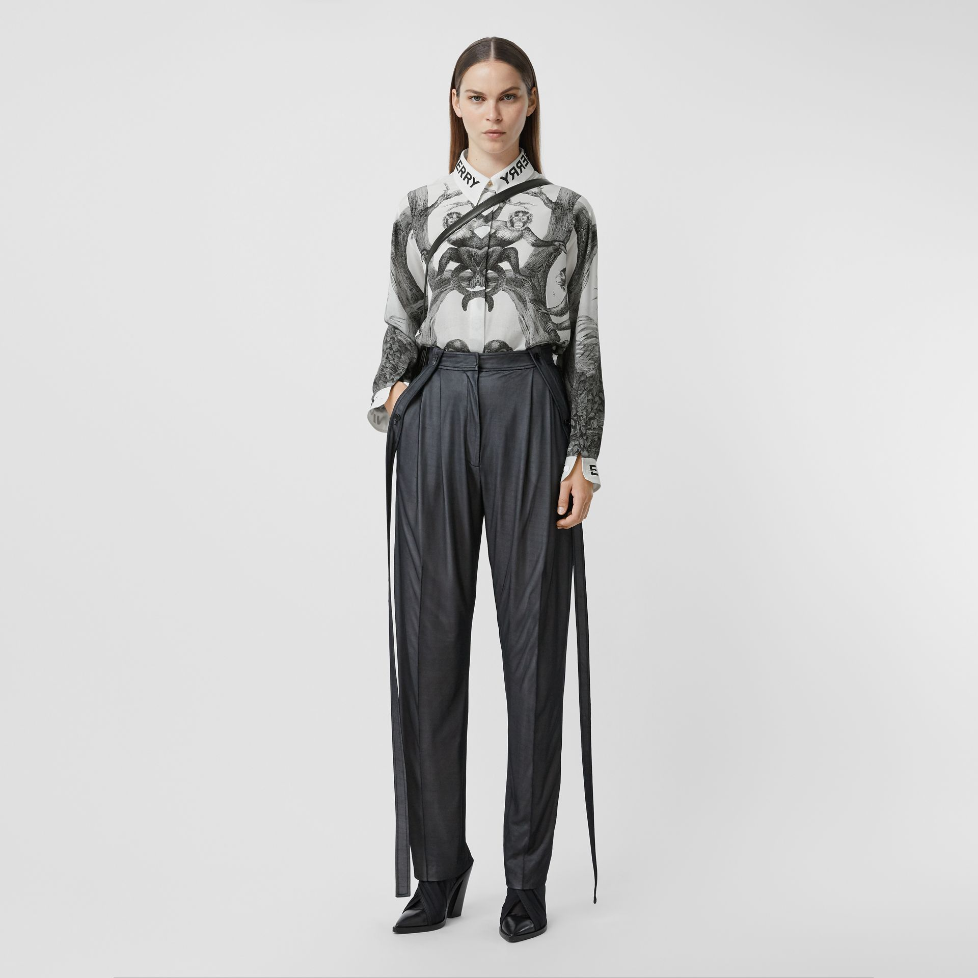 Strap Detail Chiffon and Jersey Tailored Trousers in Black - Women | Burberry - gallery image 0