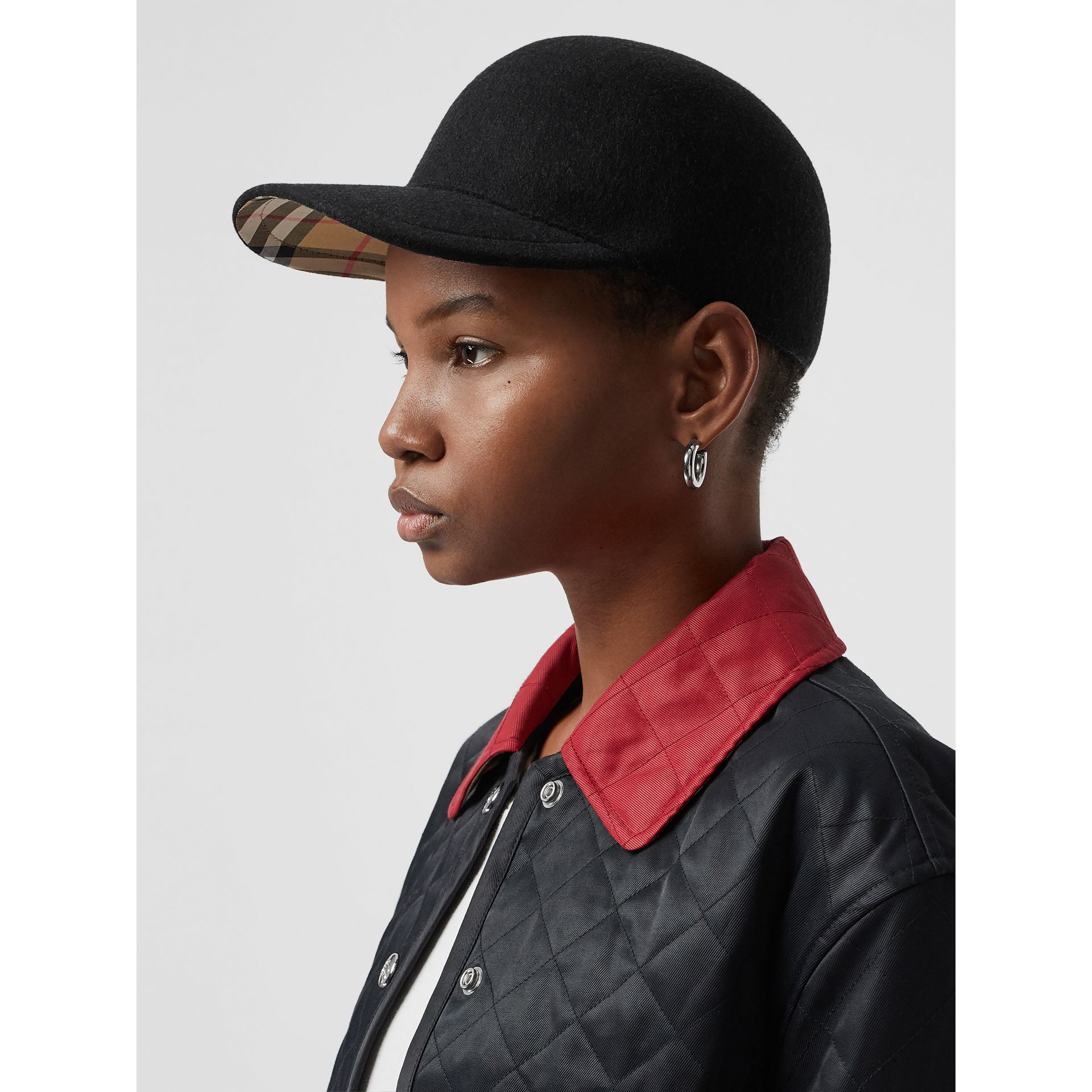 Felted Wool Baseball Cap in Black | Burberry United States - gallery image 2