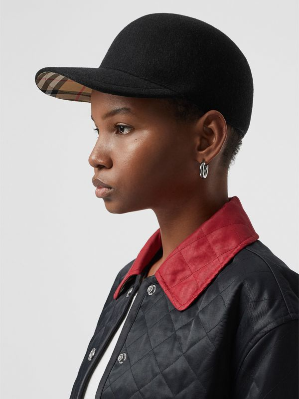 Felted Wool Baseball Cap in Black | Burberry - cell image 2