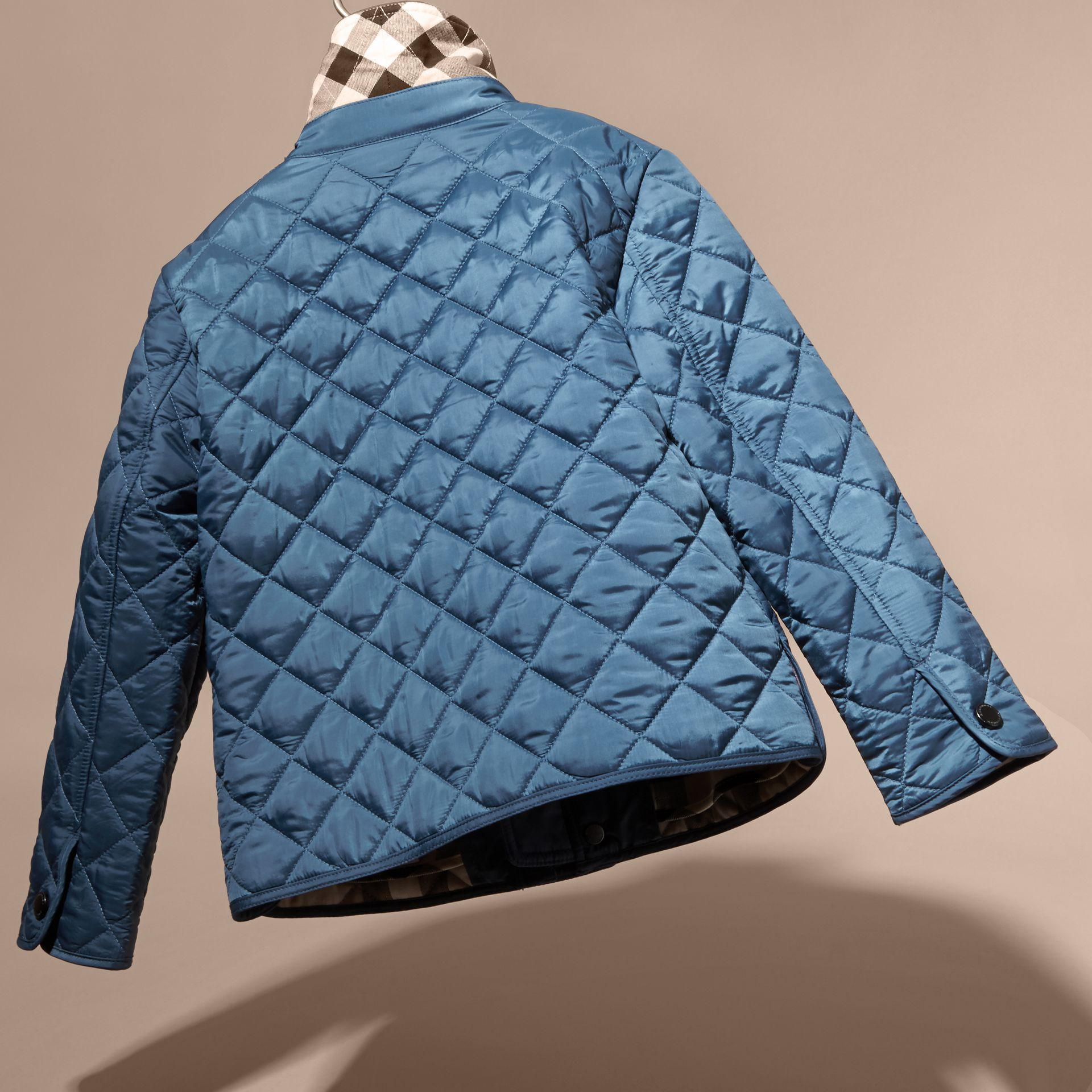 Diamond Quilted Jacket in Bright Steel Blue - gallery image 4