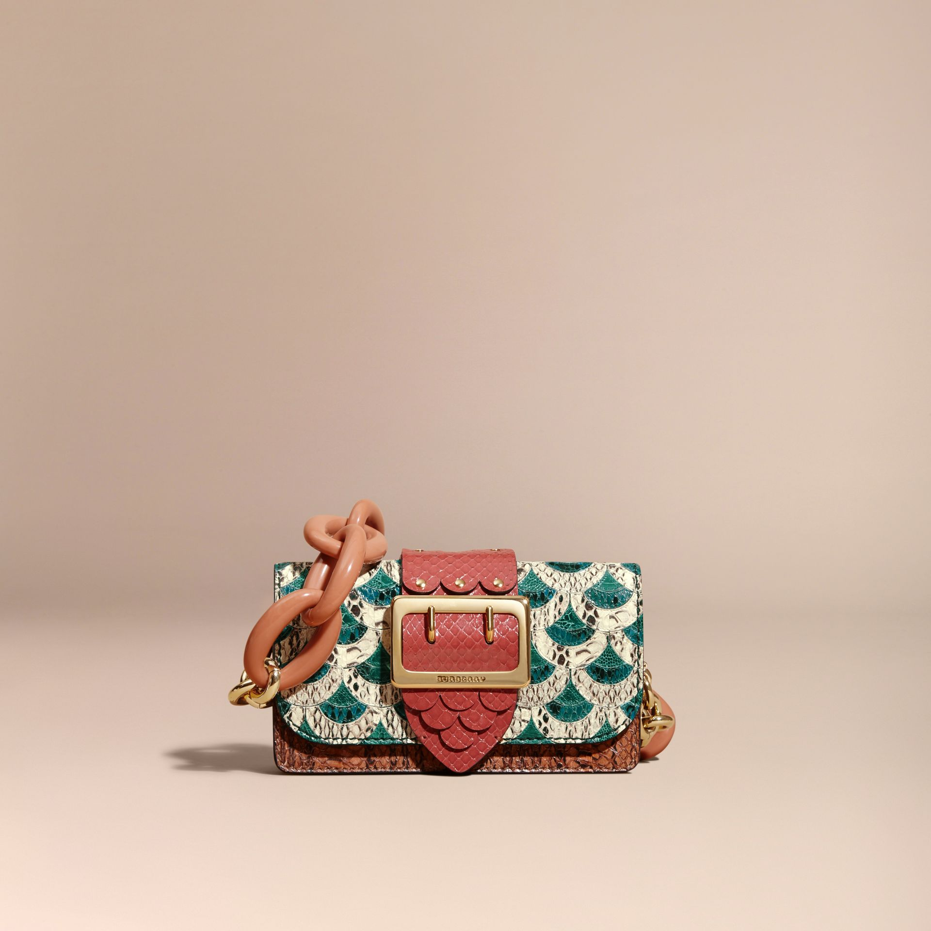 The Small Buckle Bag in Scallop Trim Snakeskin and Ostrich - gallery image 8